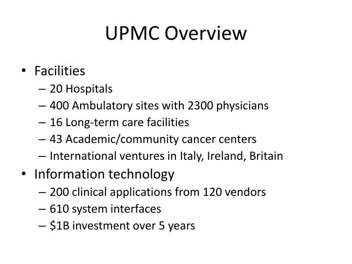 UPMC Overview