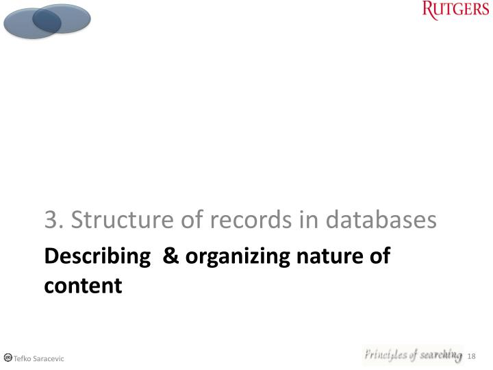 3. Structure of records in databases