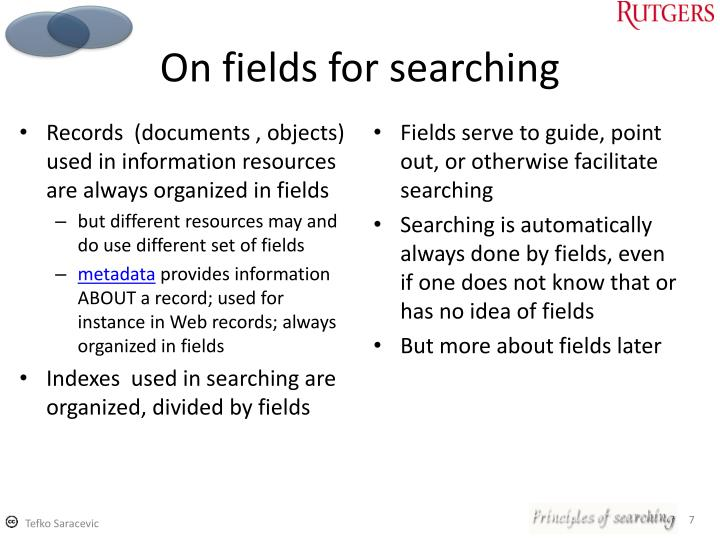 On fields for searching