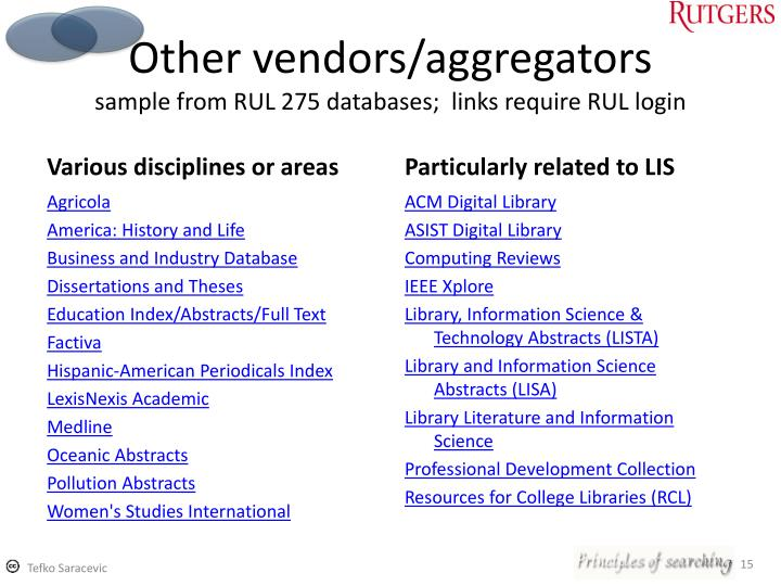 Other vendors/aggregators