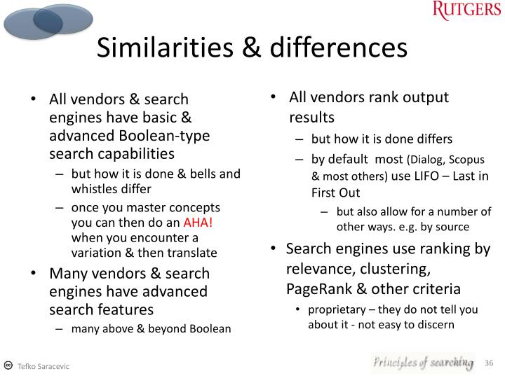 All vendors & search engines have basic & advanced Boolean-type search capabilities