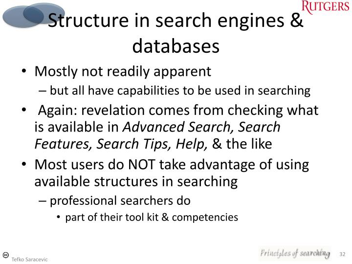 Structure in search engines & databases