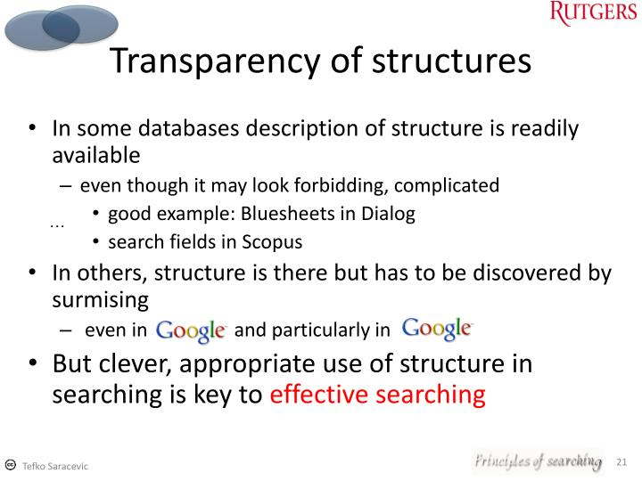 Transparency of structures
