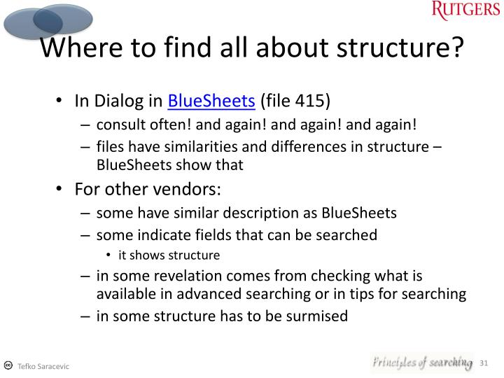 Where to find all about structure?