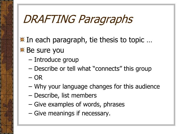 DRAFTING Paragraphs