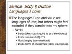 sample body outline languages i love