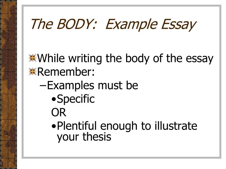 The BODY:  Example Essay