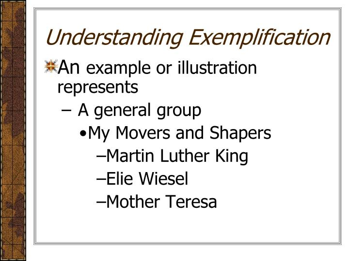 Understanding Exemplification
