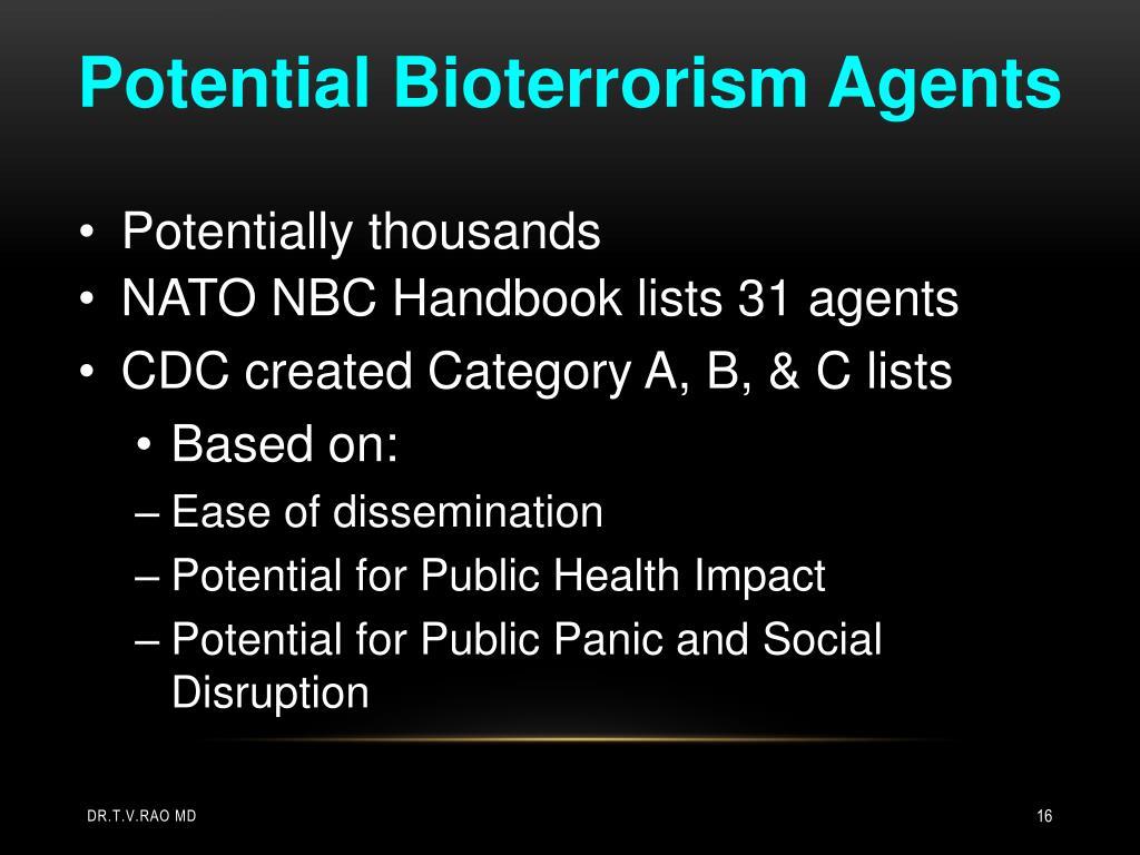 Potential Bioterrorism Agents