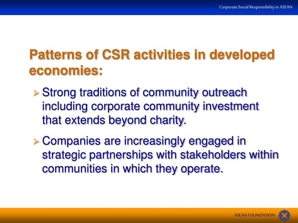 Patterns of CSR activities in developed economies: