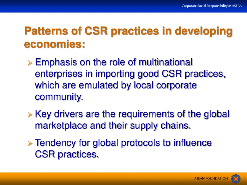 Patterns of CSR practices in developing economies: