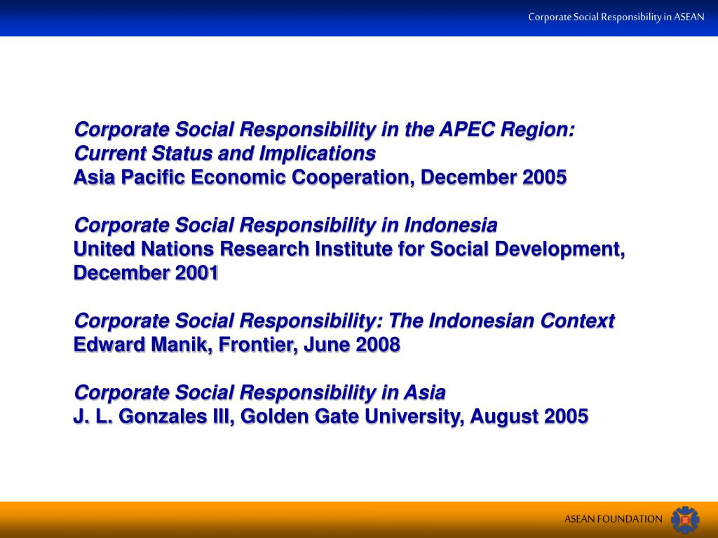 Corporate Social Responsibility in the APEC Region: