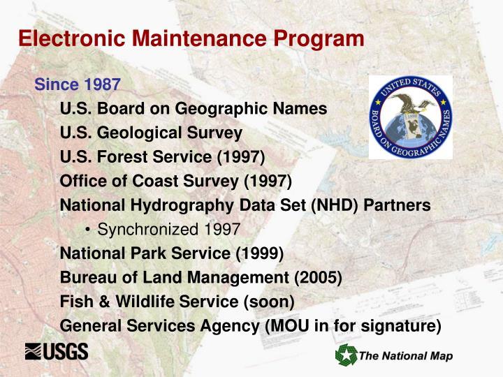 Electronic Maintenance Program