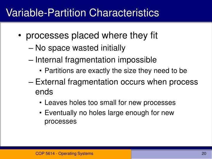 Variable-Partition Characteristics