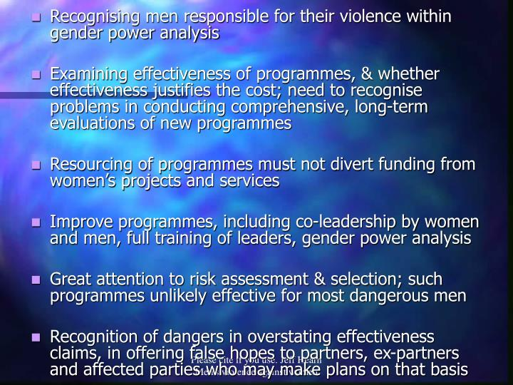 Recognising men responsible for their violence within gender power analysis