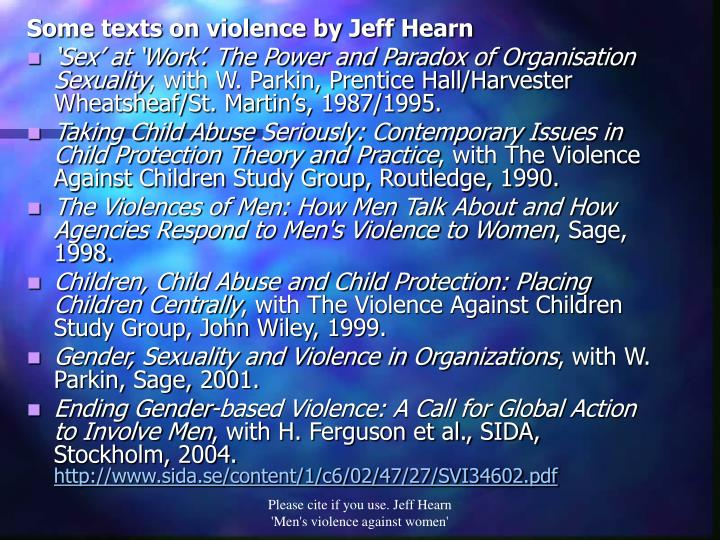 Some texts on violence by Jeff Hearn