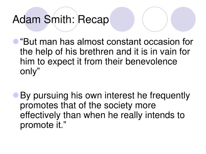 Adam Smith: Recap