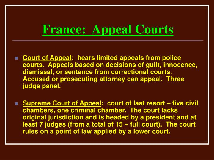 France:  Appeal Courts