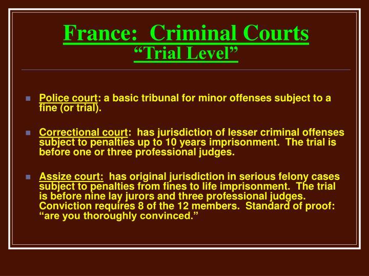 France:  Criminal Courts