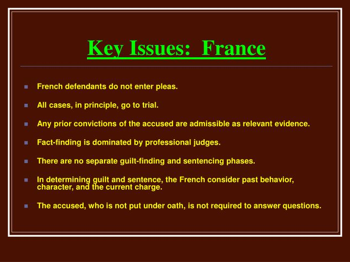 Key Issues:  France