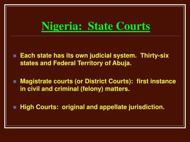Nigeria:  State Courts