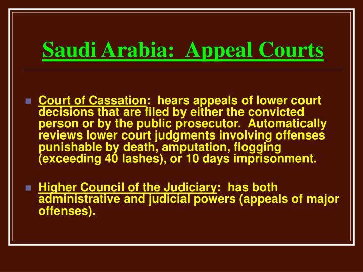 Saudi Arabia:  Appeal Courts