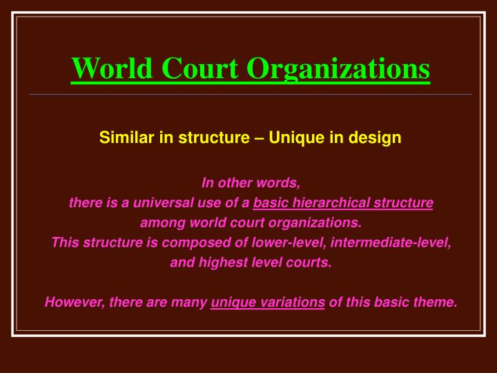 World court organizations