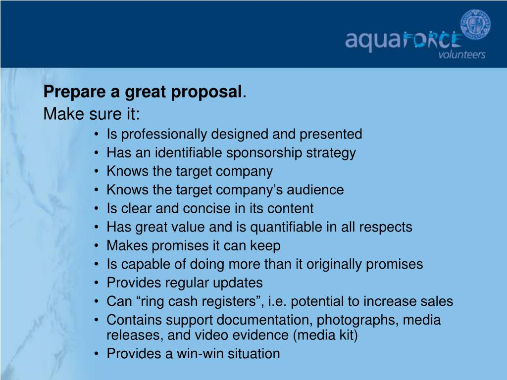 Prepare a great proposal