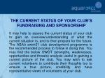 the current status of your club s fundraising and sponsorship
