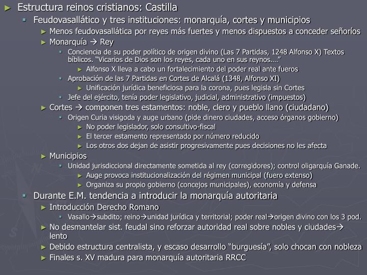 Estructura reinos cristianos: Castilla