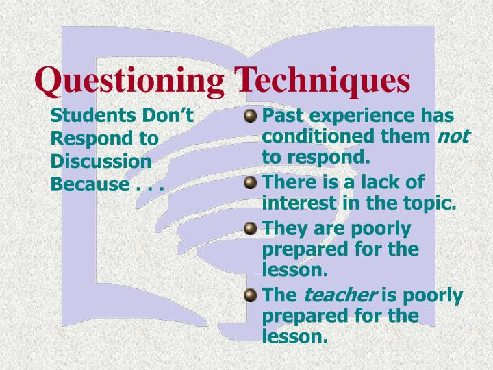 Students don t respond to discussion because