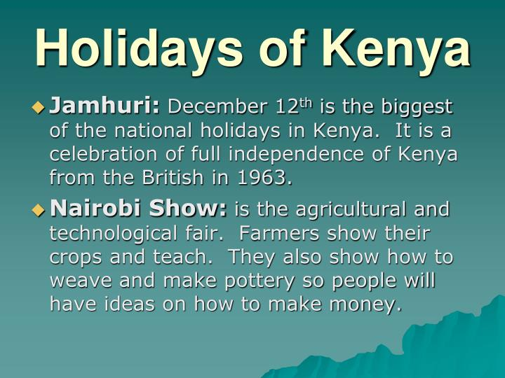 Holidays of Kenya