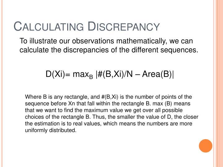 Calculating Discrepancy