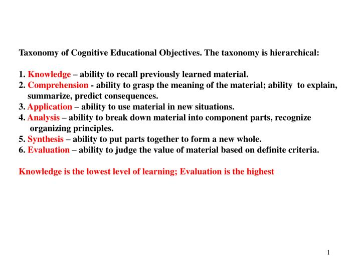 Taxonomy of Cognitive Educational Objectives. The taxonomy is hierarchical: