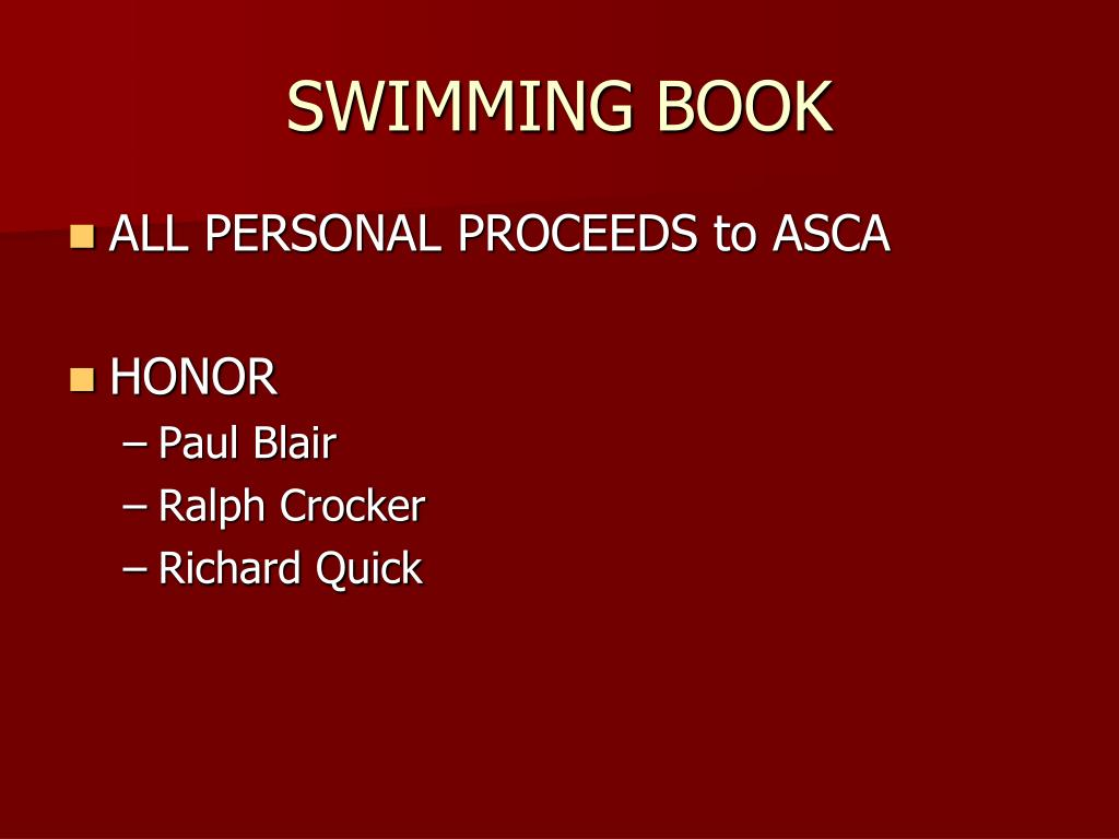SWIMMING BOOK