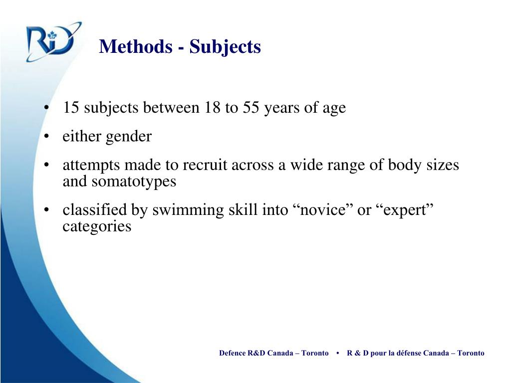 Methods - Subjects