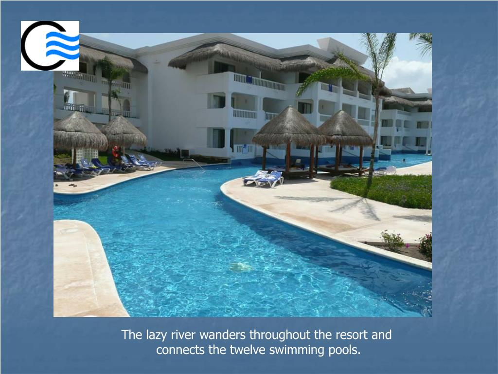 The lazy river wanders throughout the resort and