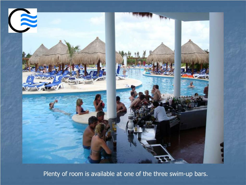 Plenty of room is available at one of the three swim-up bars.