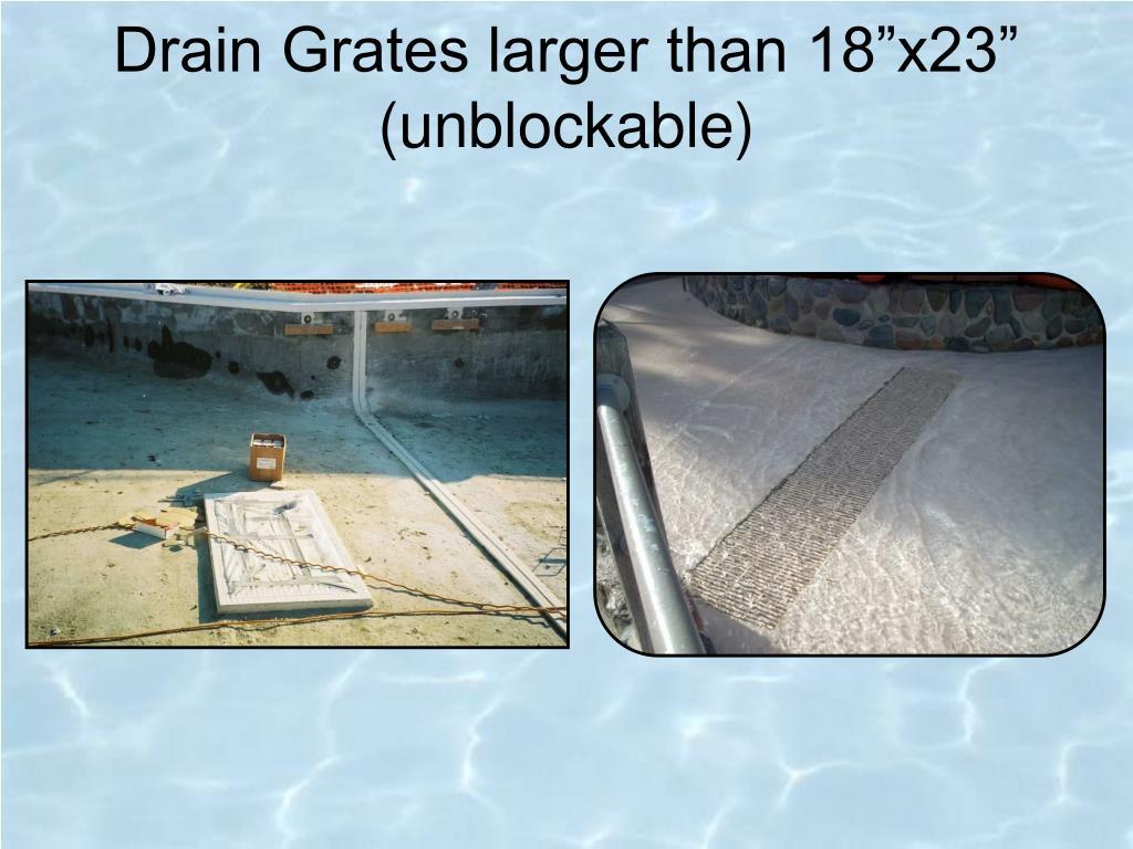 "Drain Grates larger than 18""x23"""