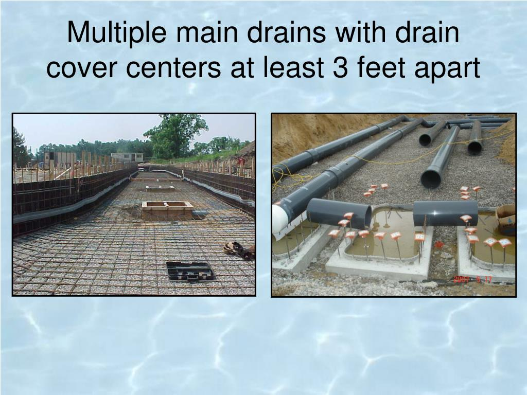 Multiple main drains with drain cover centers at least 3 feet apart