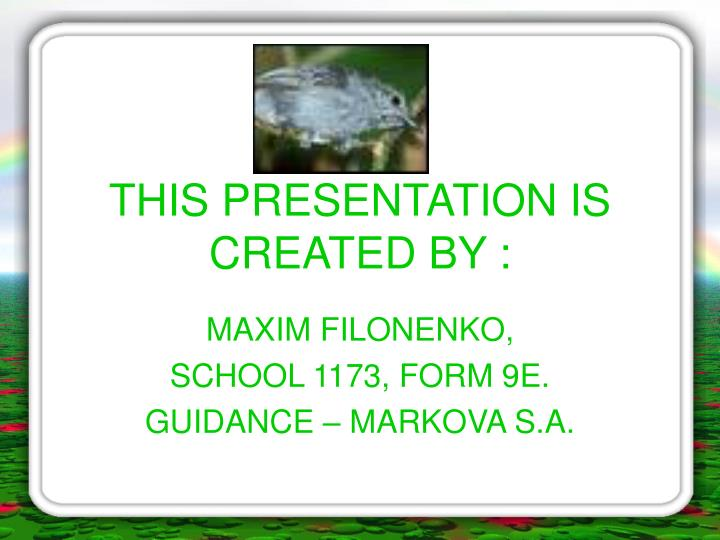 This presentation is created by
