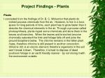 project findings plants