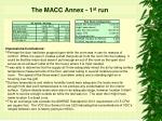 the macc annex 1 st run15