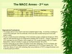 the macc annex 2 nd run18