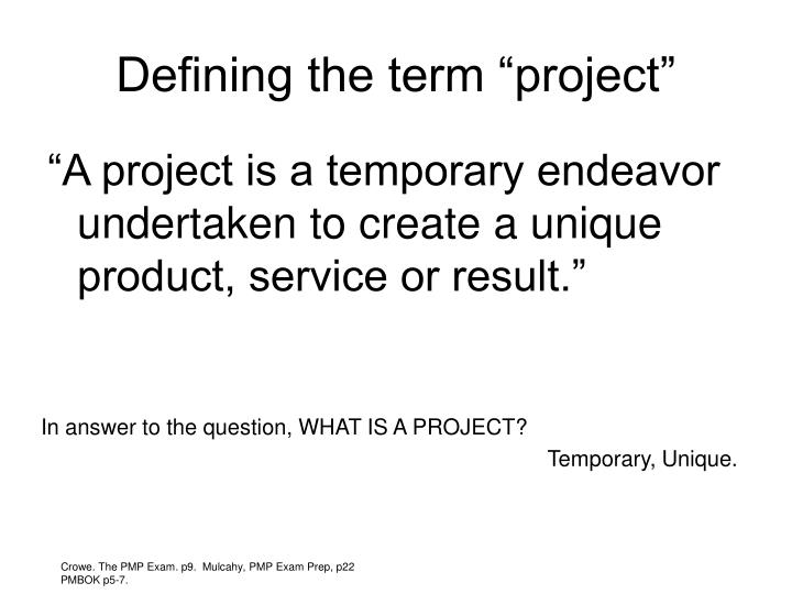 "Defining the term ""project"""