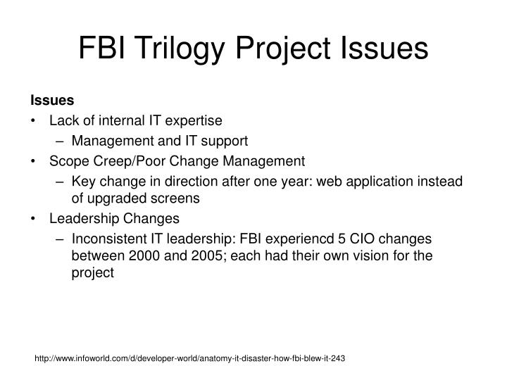FBI Trilogy Project Issues