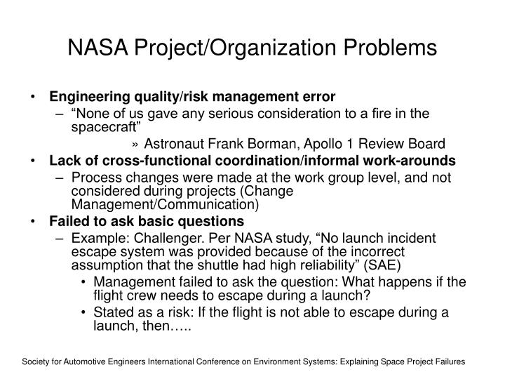 NASA Project/Organization Problems