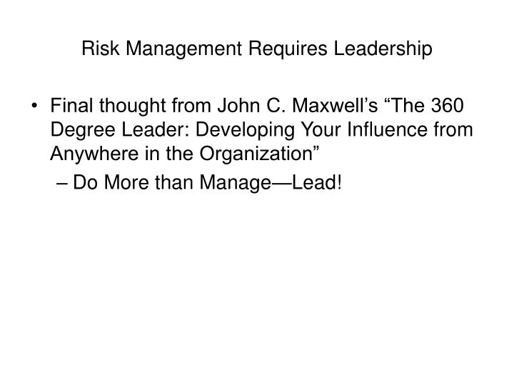 Risk Management Requires Leadership