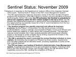 sentinel status november 2009
