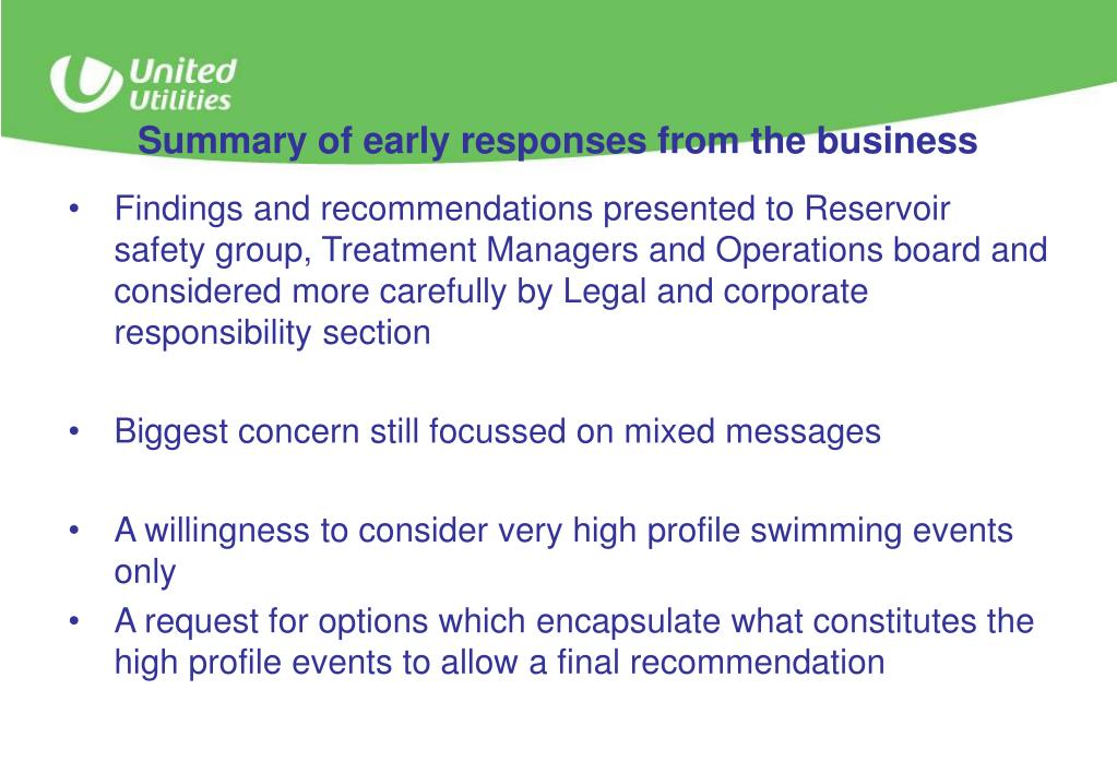 Summary of early responses from the business